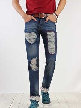 Ericdress Straight Denim Holes Casual Men's Pants