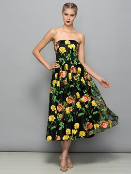 Ericdress A-Line Strapless Print Prom Dress