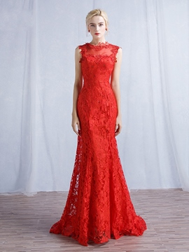 Ericdress Mermaid Jewel Appliques Beading Lace Court Train Evening Dress