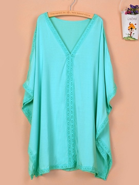 Ericdress Plain V-Neck Batwing Sleeve Cover-up