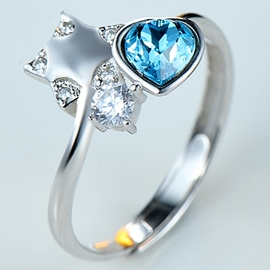 Ericdress Graceful Heart Shape Crystal Open Ring