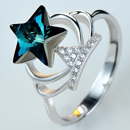 Ericdress Crystal Star Crown Ring