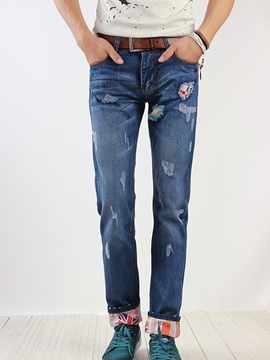 Ericdress Worn Holes Denim Men's Jeans