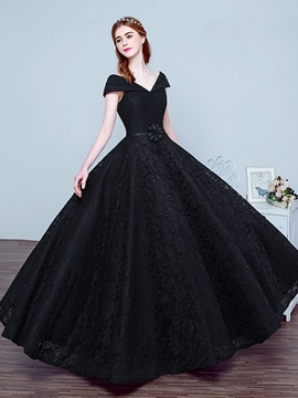 Elegant Black Long Evening Dress