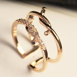 Ericdress Double Layer Twisted Diamante Ring
