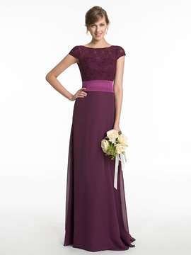 Ericdress Beautiful Bateau Lace Long Bridesmaid Dress