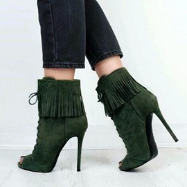 Ericdress Chic Tassels Peep Toe High Heel Boots