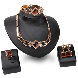 Ericdress Garnet Diamante Square Jewelry Set