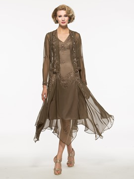 Ericdress Embroidery Sequins High Low Mother of the Bride Dress with Jacket