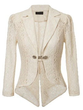 Ericdress Solid Color Lace Blazer