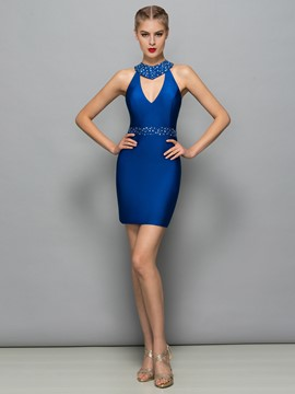Ericdress Jewel Neck Beading Sheath Cocktail Dress