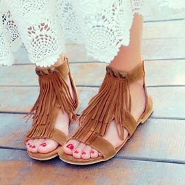 Ericdress Rivets&fringe Flat Sandals