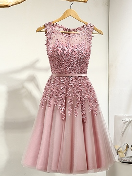 Ericdress A-Line Round Appliques Pearls Ribbons Mini Prom Dress