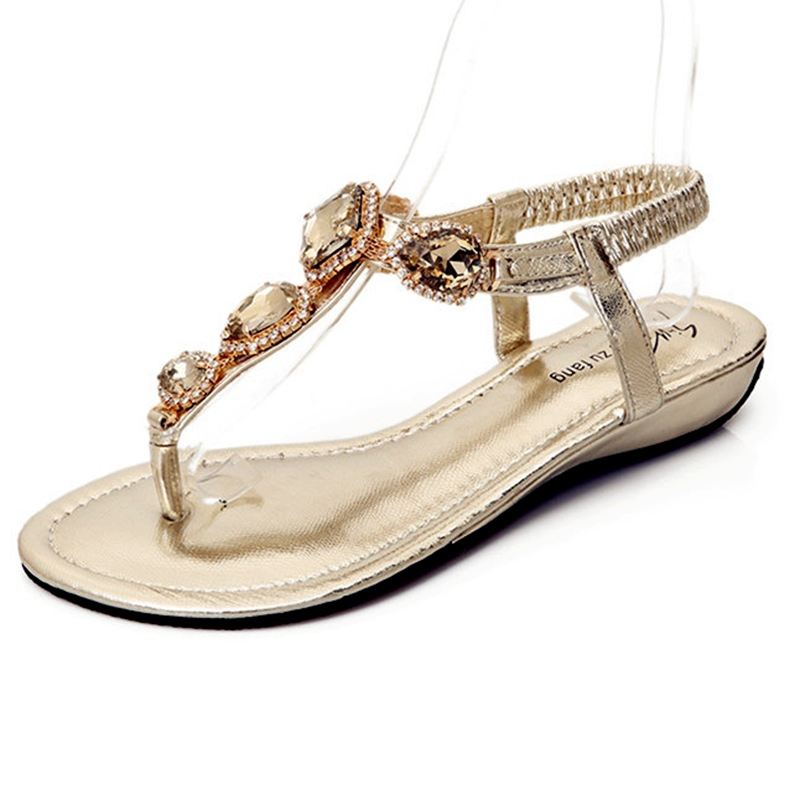 Ericdress Rhinestone T-StrapThong Flat Sandals 11919959