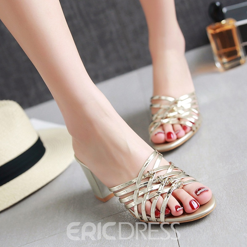 Ericdress Metallic PU Chunky Mules Shoes