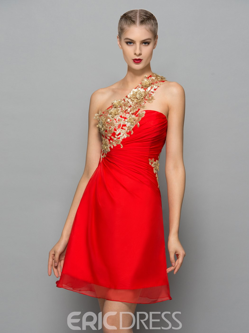 Ericdress One Shoulder Sequins Pleats Red Cocktail Dress 11936542 ...