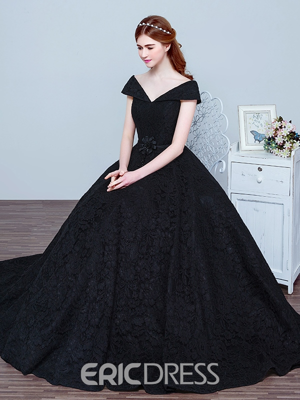 ac086f7709bd14 Ericdress V Neck Bowknot Beading Lace Evening Dress 11945534 ...