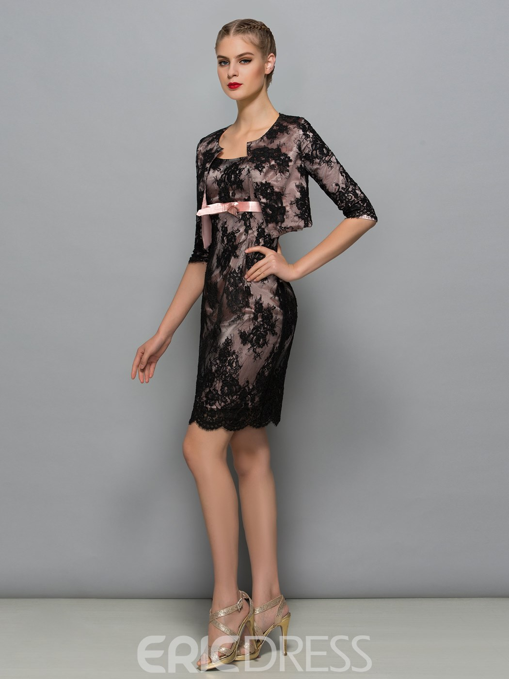 Ericdress Fancy Square Sheath Short Mother Of The Bride Dress With Jacket