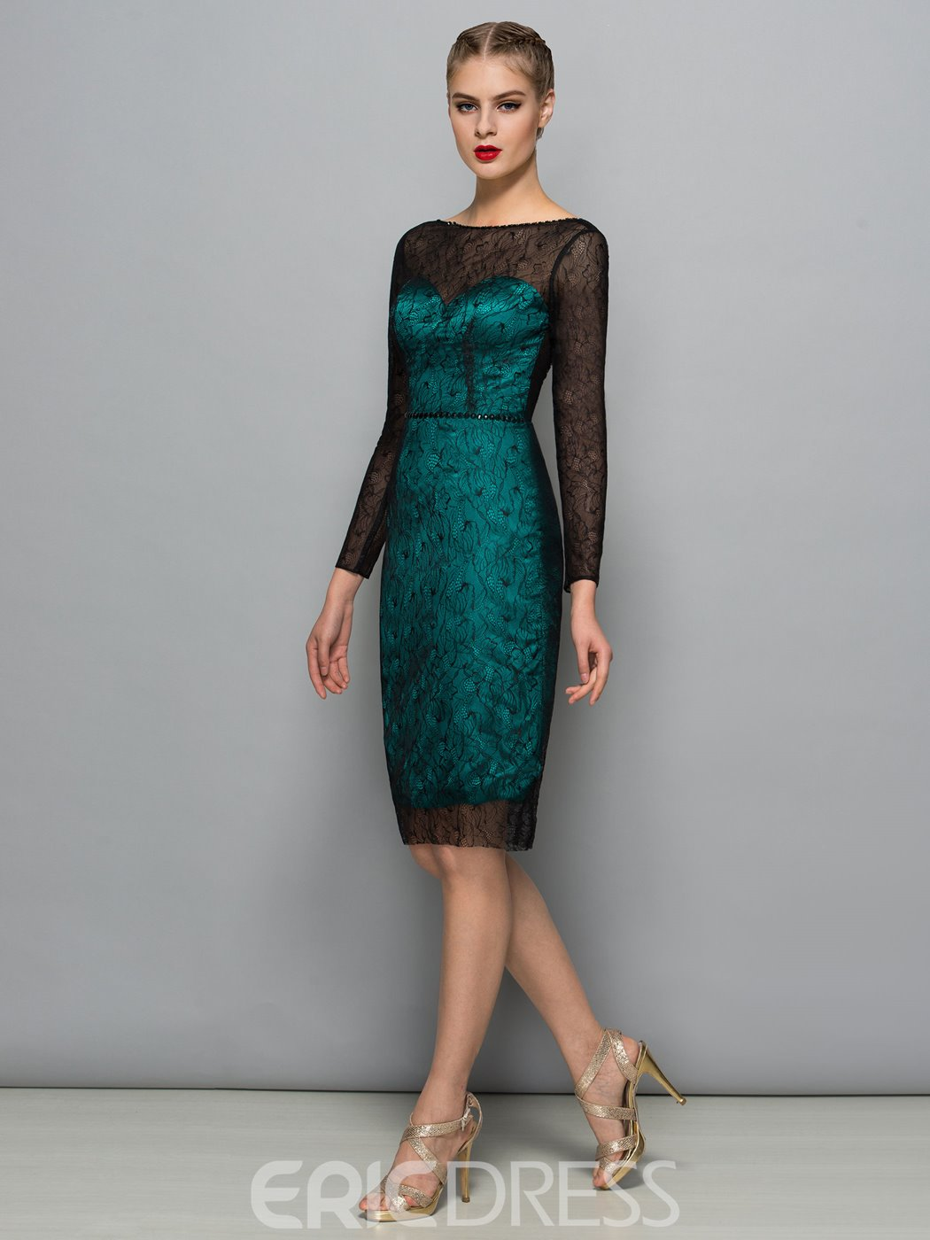 Ericdress Long Sleeve Deep Back Lace Knee Length Cocktail Dress