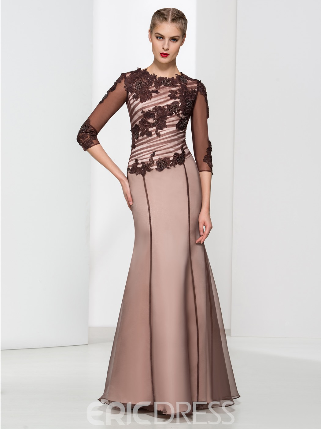 Ericdress Scoop Neck Appliques Sequins Sheath Evening Dress