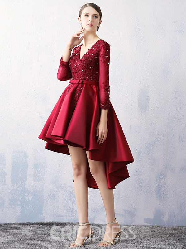 Ericdres Long Sleeves V-neck Applique Asymmetry Prom Dress
