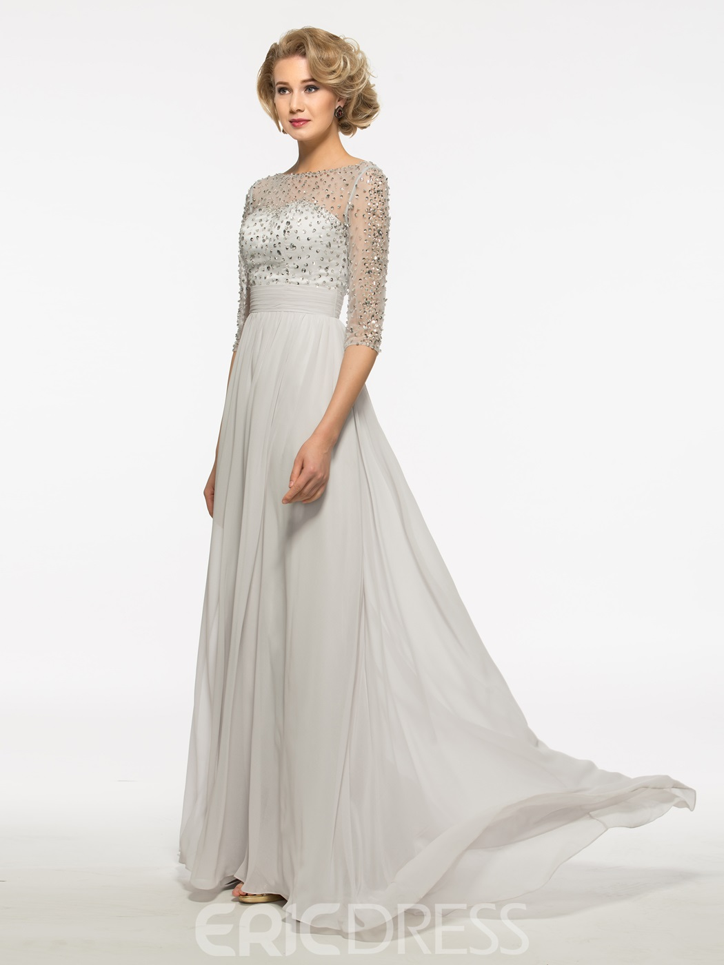 Ericdress Half Sleeves A Line Long Bateau Mother Of The Bride Dress