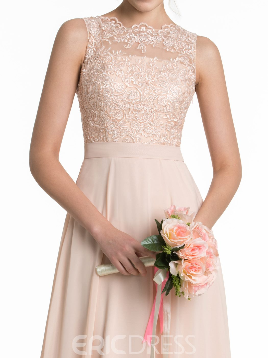 Ericdress Sheer Back Lace Long Bridesmaid Dress