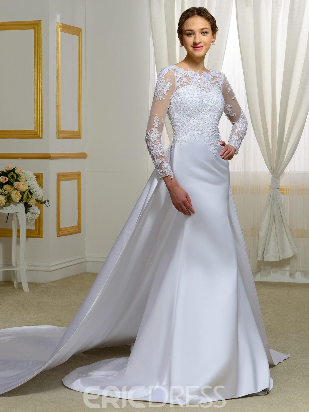 Ericdress Amazing Beading Long Sleeves Mermaid Wedding Dress