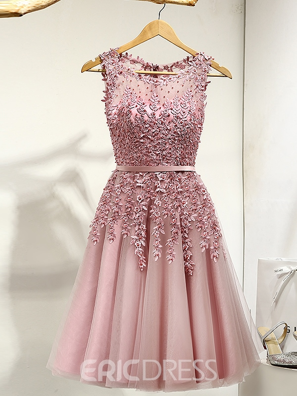 Ericdress A-Line Round Appliques Pearls Ribbons Mini Prom Dress ...