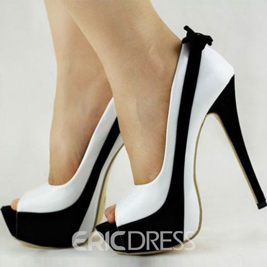 Ericdress Chic Contrast Color Peep Toe Platform Stiletto Sandals