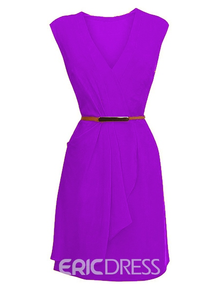 Ericdress Wave Cut Patchwork V-Neck Belt Sheath Dress