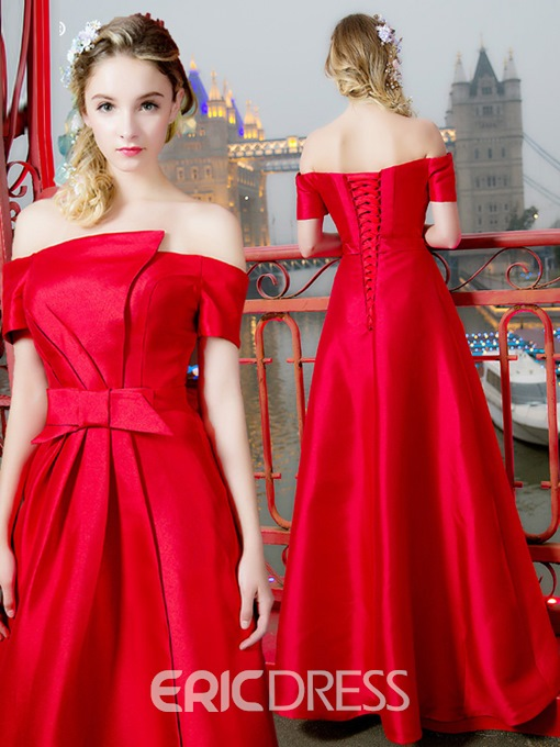 Ericdress Bowknot Off-The-Shoulder A-Line Short Sleeves Prom Dress
