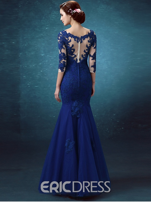 Ericdress Mermaid V-Neck Lace Button 3/4 Length Sleeves Evening Dress