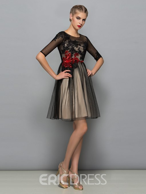Ericdress Scoop Neck Half Sleeves Appliques Sequins Cocktail Dress