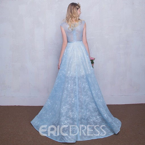 Ericdress Bateau Neck Appliques Lace Long Prom Dress