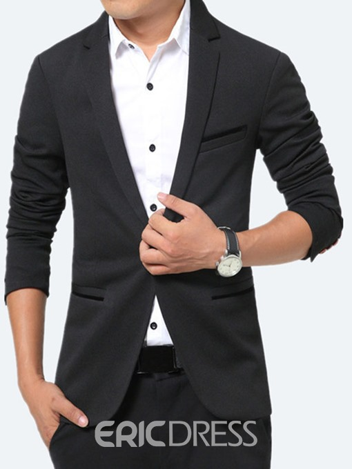 Ericdress Solid Color Pocket Slim Vogue Men's Blazer