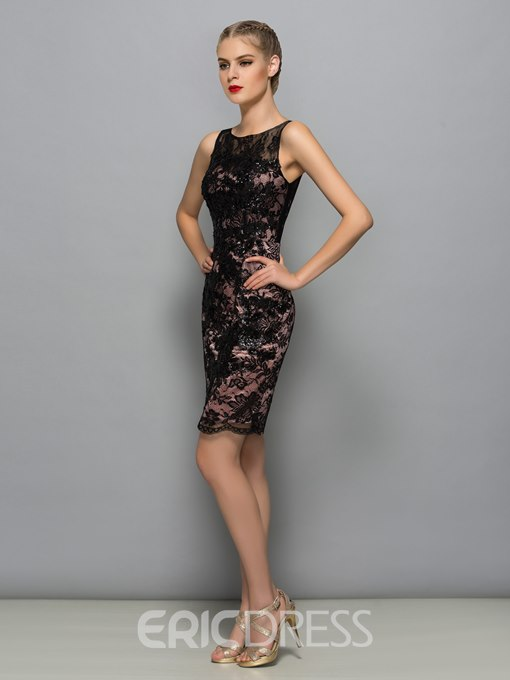 Ericdress Scoop Neck Sequins Lace Cocktail Dress