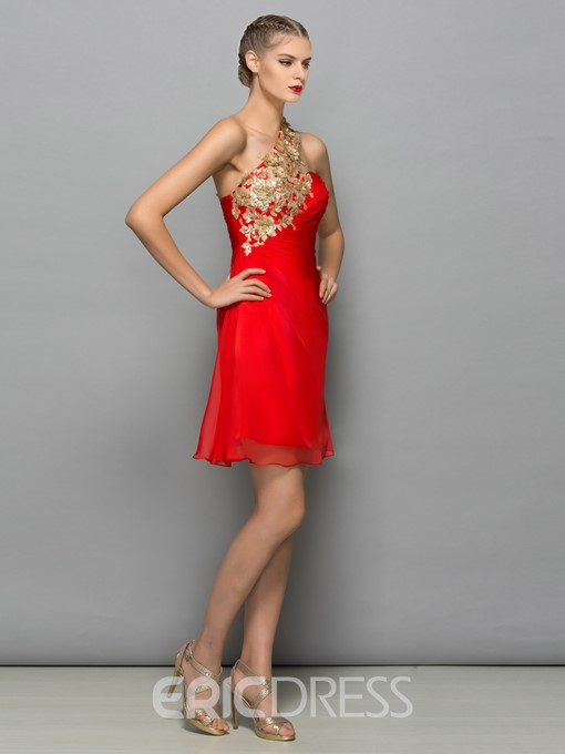 Ericdress One Shoulder Sequins Pleats Red Cocktail Dress