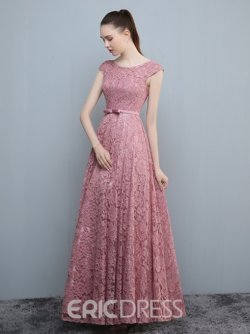 Ericdress A-Line Cap Sleeves Lace Sashes Evening Dress With Bowknot