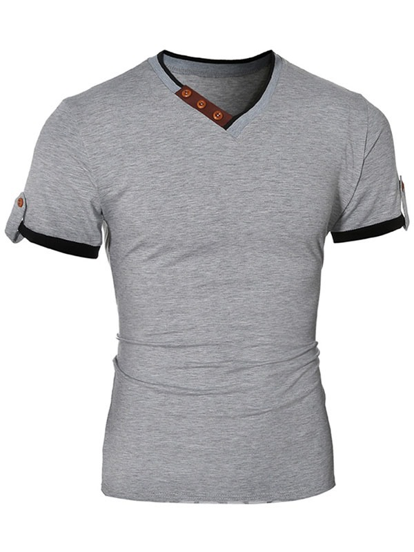 Ericdress V-Neck Patchwork Short Sleeve Men's T-Shirt