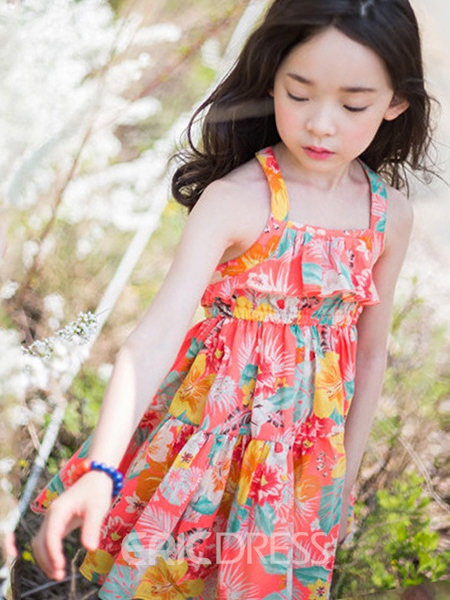 Ericdress Floral Print Halter Girls Dress