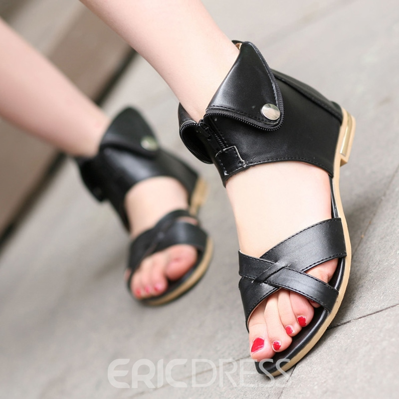 Ericdress Open Toe Plain Zipper Flat Sandals