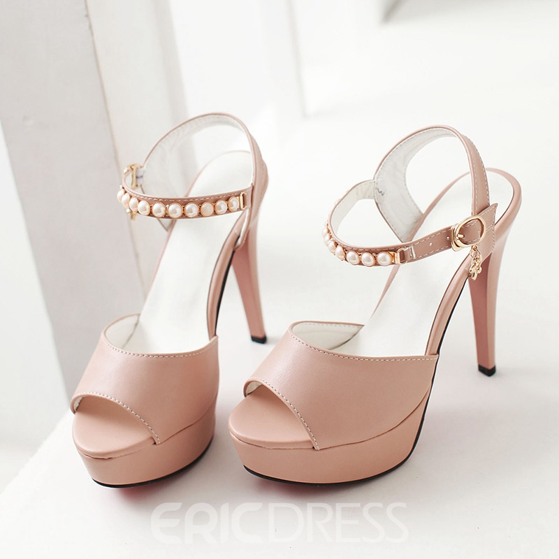 Ericdress Patent Leather Pearl Ankle Strap Stiletto Sandals