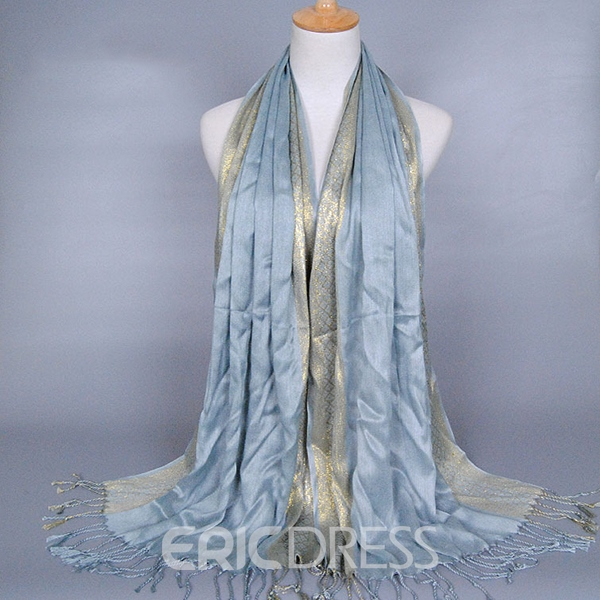 Ericdress Shiny Golden Thread Tassel Scarf