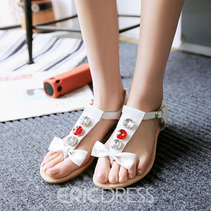 Ericdress Bowtie Thong T-Shaped Buckle Flat Sandals