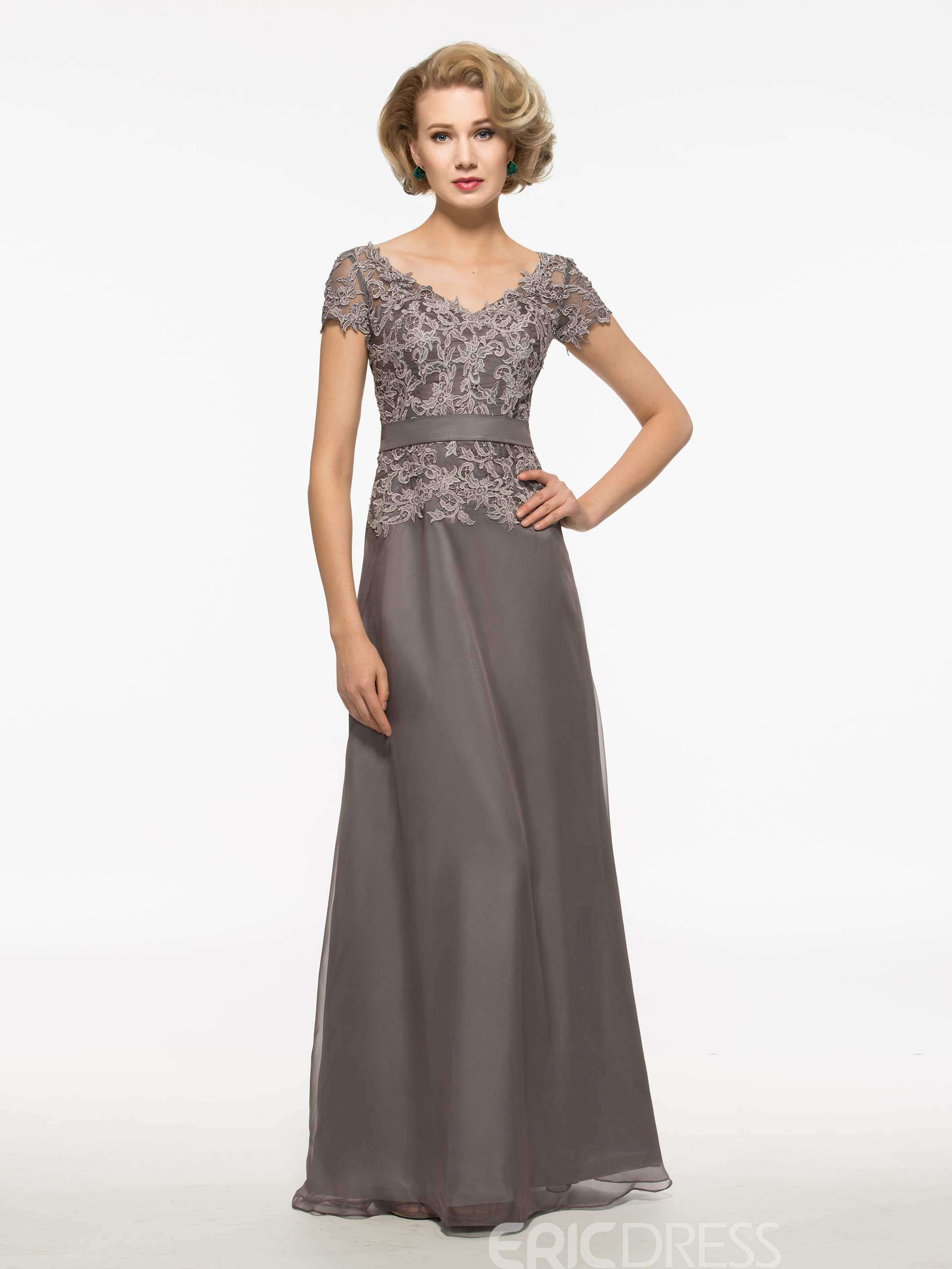 Ericdress Modest Lace Short Sleeves Long Mother Of The Bride Dress