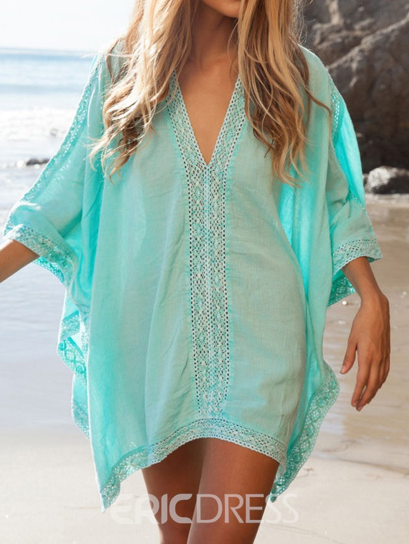 Ericdress Plain V-Neck Batwing Sleeve Beach Cover ups
