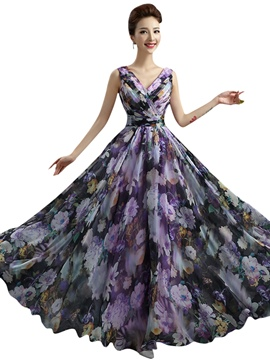 Ericdress A-Line V-Neck Ruched Printed Floor-Length Prom Dress
