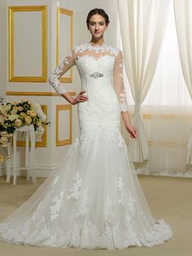 Ericdress Modest Jewel Appliques Long Sleeves Mermaid Wedding Dress