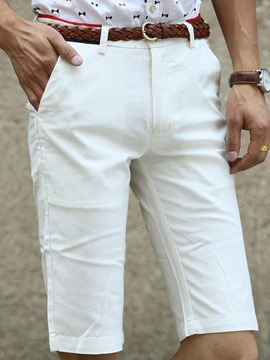 Ericdress White Half Leg Slim Men's Shorts